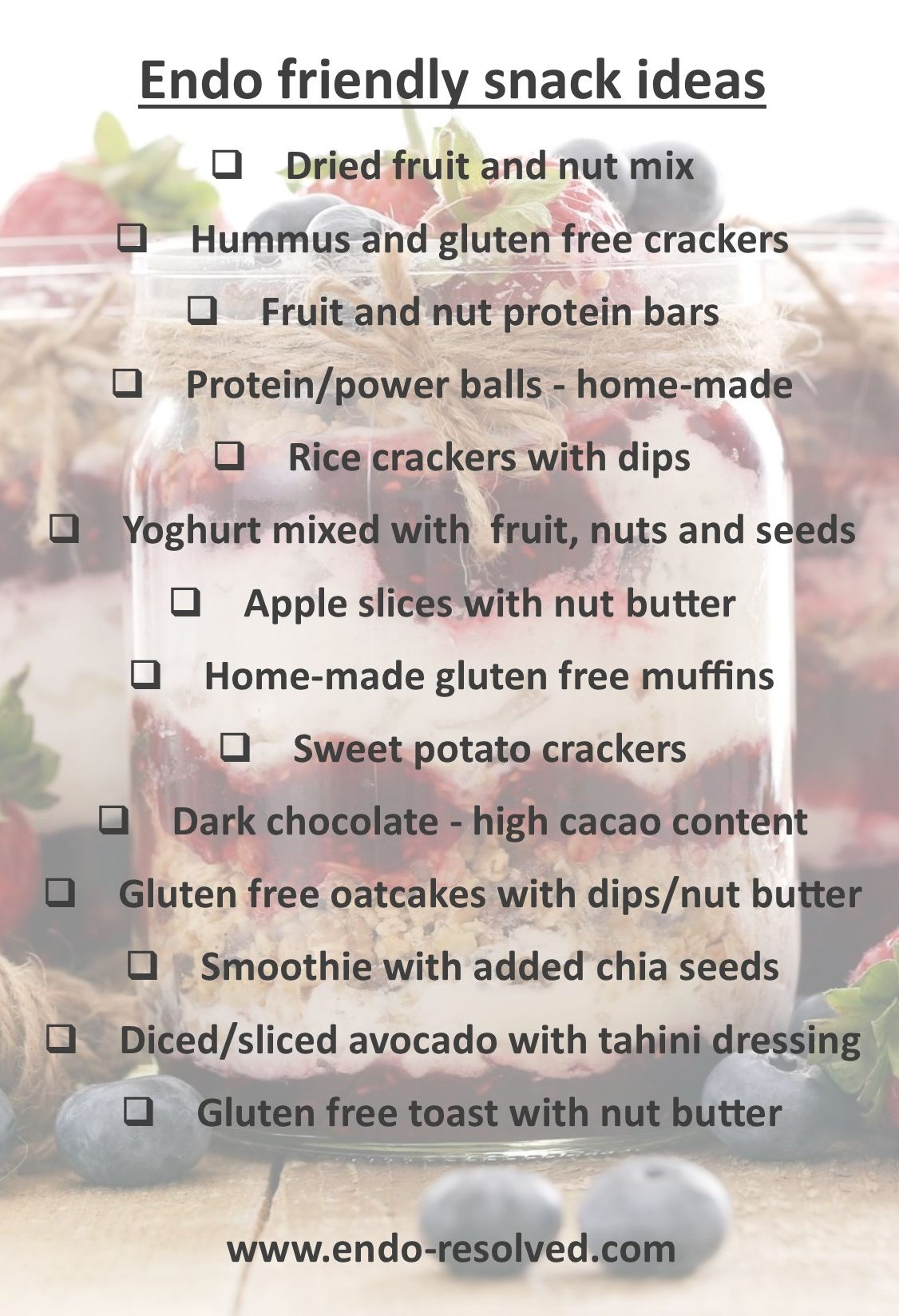 Endometriosis diet snack ideas