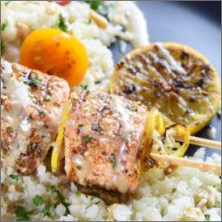 Grilled salmon kebabs - endometriosis diet safe